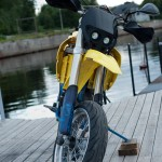 Husaberg 650 from front with UFO twin light
