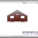 A blueprint with a colored house facade.