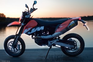 KTM 690 SMC in the sunset