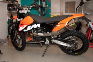 KTM 690 with enduro wheels mounted