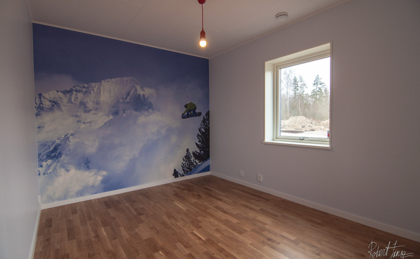 Office with snowboard photo wallpaper