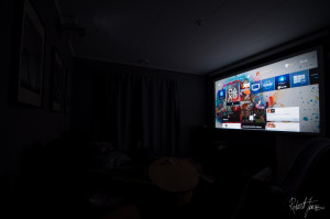 "Home cinema room with 108"" screen"