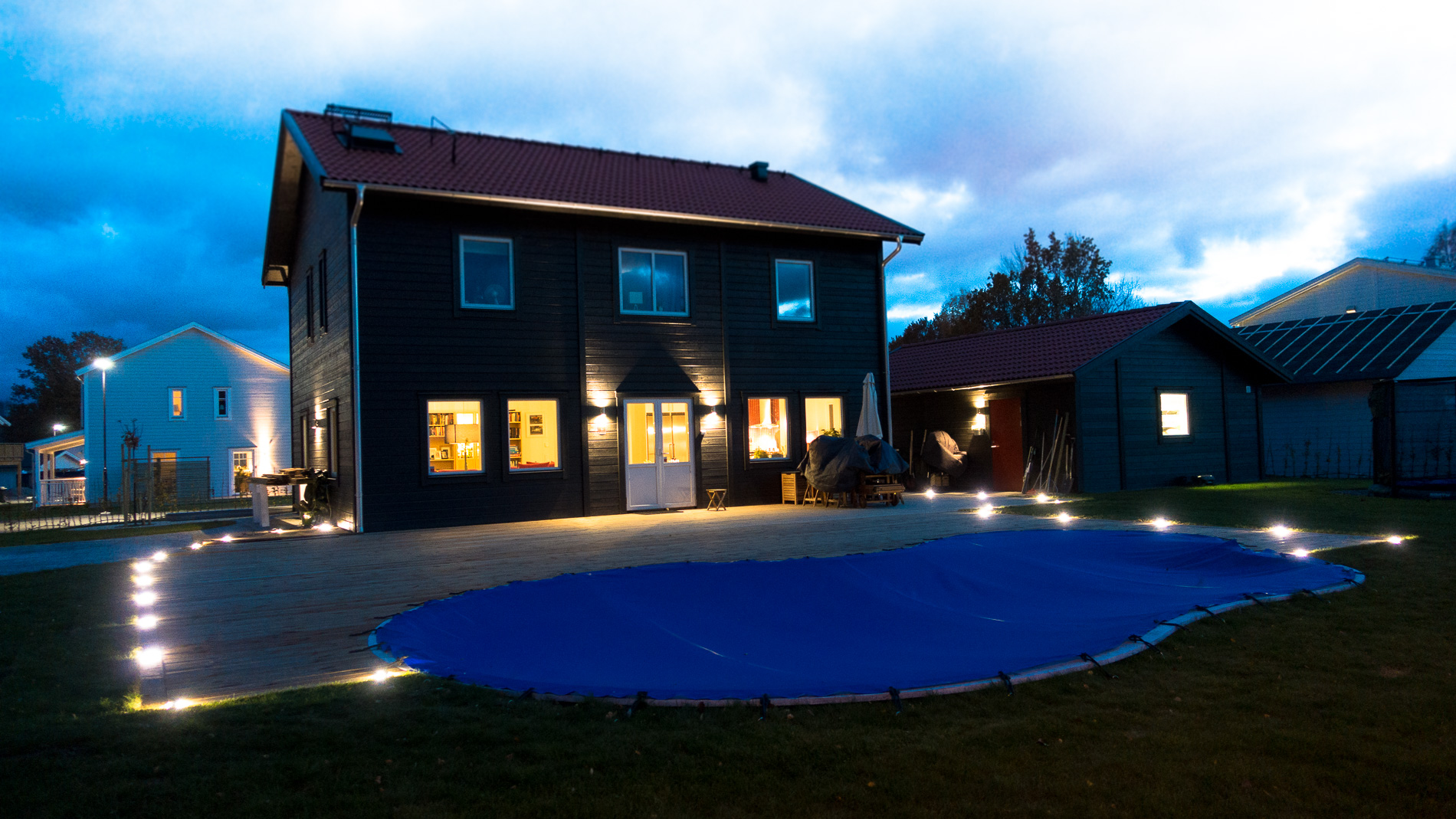 Final result pool and terrace by night with lightning